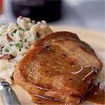 Honey and Spice-Glazed Pork Chops Recipe | This was delicious! The flavors were very fall-ish! It fell a little flat for me, so I added a dash of hot shot to all of them to spice them up a little bit. They were really quick and easy to make though - will definitely add to my recurring repertoire!