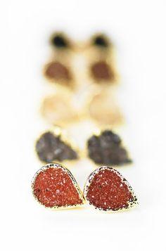 Alohi earrings - small gold druzy stud earrings, tiny teardrop post earrings, https://www.etsy.com/listing/172544762 kealohajewelry