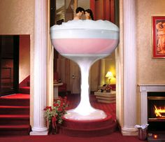When Mama gets the big check, we are totally going here!! Champagne Tower, Glass Tub, Hotel Room Jacuzzi, Heart Shaped Tub