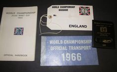 1966 Official handbook presented to players and officials only, in 4 languages containing all the organising details such as transport, press arrangements and venue details. Lot includes a 1966 baggage tag, a leather press pass holder and an official transport sticker.