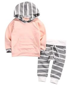 Pink Or Blue Striped Baby Girl Outfit