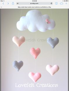 Baby mobile Heart mobile cloud mobile by LoveFeltXoXo on Etsy(Baby Diy Projects) Cool Baby, Baby Kind, Baby Baby, Felt Baby, Baby Crib, Baby Crafts, Felt Crafts, Diy And Crafts, Cloud Mobile