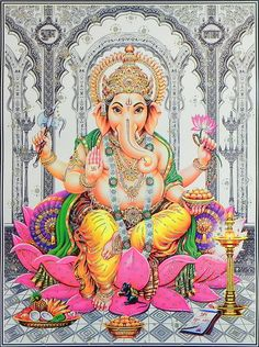 Lord Ganesha Sitting on Lotus - (Poster with Glitter)