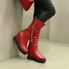 size 34-46 2016 fashion Mid-Calf Round Toe hight increasing heel Winter Boots for women snow boots wedding snow boots(China (Mainland))