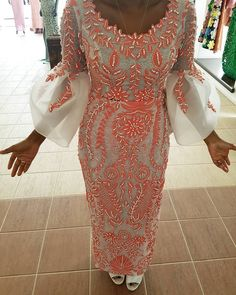 Reni Folawiyo in a stylised embellished coral lace Iro and Buba in our Komole mould 🎀 African Party Dresses, African Wedding Attire, African Lace Dresses, African Fashion Dresses, African Wear, African Attire, African Women, African Style, Nigerian Lace Styles