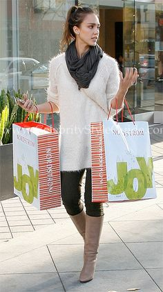 I just want all of Jessica Alba's wardrobe for my closet...and look at my girl holding Nordstrom bags.  That's why I like her!