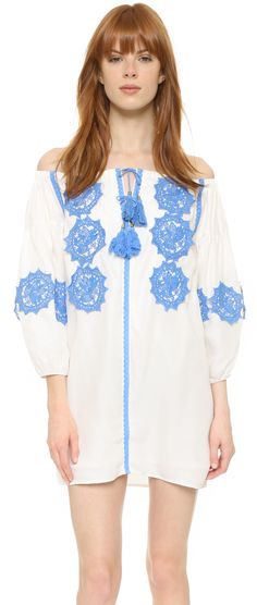 Off the shoulder shift dress| Line and Dot Beaux Embellishment Mini Dress | summer fashion | spring style