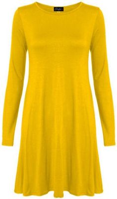 New Womens Plus Size Flare Swing Dress Long Sleeve Hanky Hem Jersey Dress  Yellow  XL FITS 1618  * More info could be found at the image url.