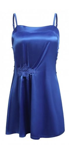 0ca70e88d4b6 Royal Blue Women Sexy Lingerie Satin Chemise Nightgown Lace Slip Sleepwear