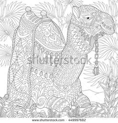 Stock Vector Of Stylized Camel Sitting Among Palm Trees In Desert Oasis Freehand Sketch For Adult Anti Stress Coloring Book Page With Doodle And Zentangle