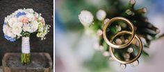Casamento rústico em azul e amarelo | Buquê com renda e foto alianças
