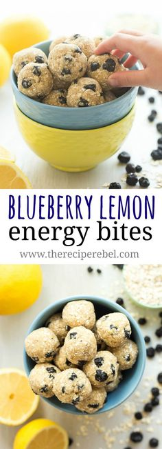 These Lemon Blueberry Energy Bites are an easy, no bake snack that's perfect for back to school or summer road trips! Just a few ingredients and they're gluten free with paleo and vegan options, and you can press them into a pan to make granola bars! Protein Bites, Protein Snacks, Protein Power Balls Recipe, High Protein, Healthy Energy Bites, No Bake Protein Bars, Healthy Sweets, Healthy Snacks, Quick Snacks