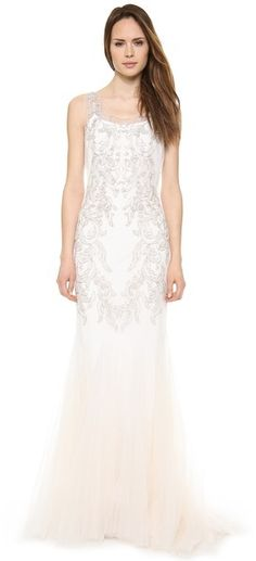 Badgley Mischka Collection Beaded Tulle Gown on shopstyle.co.uk