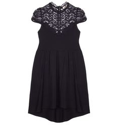 Swing mini shortsleeve dress with high neckline with a crochet lace collar, ruched waist styling and flare fit skirt