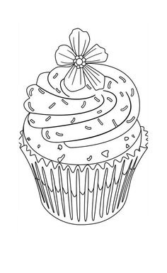 Cute Cupcakes Coloring Page Flower Topping Cupcake