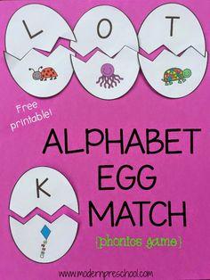 Printable Matching Game alfabeto ovo para a prática fonética e habilidades carta de Modern pré-escolar