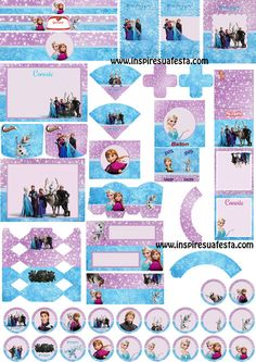 Free Printable Frozen in Lilac and Light Blue Kit. Elsa Birthday Party, Frozen Birthday Party, 4th Birthday Parties, Frozen Party, 3rd Birthday, Frozen Disney, Disney Diy, Cute Frozen, Frozen Free