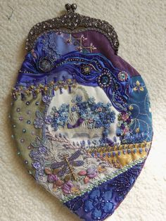 Crazy Quilt Forget me not purse with clasp by Patwintergatherings