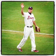 Atlanta Braves @Braves  --    GREAT shot!!   --  MT@skittykatz: waving goodbye to the sell-out crowd at Turner Field. @braves @realcj10 #mlb #braves  --  Photo by skittykatz