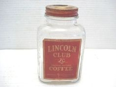 Vtg-Glass-Jar-Coffee-Can-Advertising-Tin-Lincoln-Club-Duluth-MN-Knife-Open-Lid