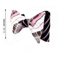 FBTR-542 - Black - White - Pink - Burgundy - Men's XL- Big and Tall - Self Tie 2-Sided Bow Tie
