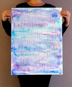 Ellen van de Sande White ink on watercolor paint, 50 x 60