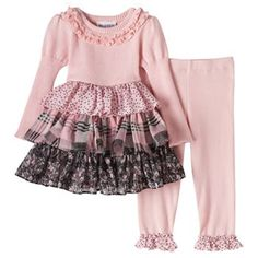 Baby Girl Blueberi Boulevard Mixed Pattern Tiered Skirt Top & Leggings Set