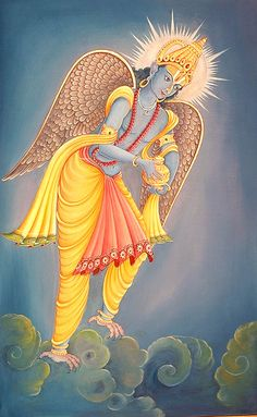 """""""Among birds only Garuda (variously known as garutmat, the winged, suparna, of lovely wings, tarkshaya, the son of Tarksha-Kasyapa, paksi-raja and pattagotama, the lord of birds) is noteworthy. He is the son of Vinata, the great-grand-daughter of the Prajapati Kasyapa. Arjuna the charioteer of Surya is his brother and Sumati his sister. Sumati was married to king Sagara and on that account Garuda is called matula (maternal uncle) of the sixty-thousand sons of Sagara."""