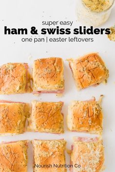 Easy ham and swiss sliders with mustard butter Healthy Sandwiches, Sandwich Recipes, Lunch Recipes, Easy Dinner Recipes, Appetizer Recipes, Healthy Recipes, Party Appetizers, Best Party Food, Party Food And Drinks