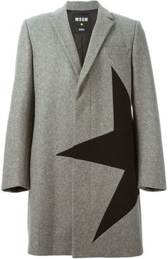 $680, MSGM Star Panel Overcoat. Sold by farfetch.com. Click for more info: https://lookastic.com/men/shop_items/347299/redirect