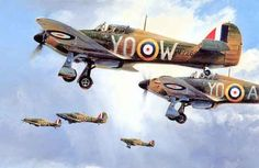 """Maple Leaf Scramble"" by Robert Taylor - Canadian Hurricanes of 242 Squadron led by the legendary (and legless) Douglas Bader during the Battle of Britain, summer 1940."