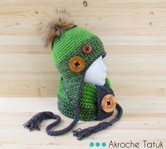 Crochet hat and cowl pattern  Tuque et cache-cou patron au crochet