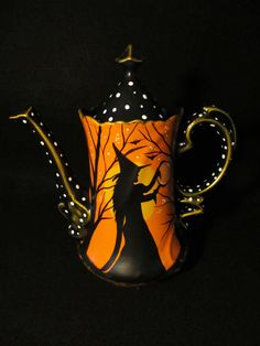 Hand-painted*+Vintage+Lefton+China+Tea/Coffee+Pot*+Halloween*+Witches*+Cats++