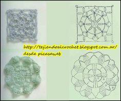 Granny  círculos para tejer a crochet  con sus patrones  cuadros a ganchillo,