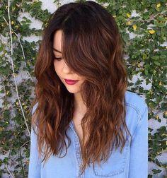 "Résultat de recherche d'images pour ""medium brown hair with soft auburn and caramel highlights"""