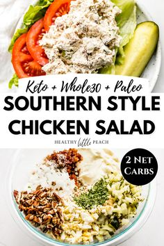 My homemade Southern Style Chicken Salad recipe is easy to make and loaded with homemade mayo, bacon, hard-boiled eggs, bacon, pecans, pickles and onions. Perfect served over lettuce or on top of cucumbers. Only 2 NET carbs per serving! Whole30, Keto, and Paleo. #southernstylechickensalad #chickensaladrecipe #chickensalad #ketochickensalad #keto #whole30 #paleo #chickenrecipes #ketolunch Healthy Lunches For Work, Quick Healthy Meals, Healthy Salads, Work Lunches, Healthy Recipes, Keto Recipes, Chicken Salad Recipes, Hard Boiled, Boiled Eggs