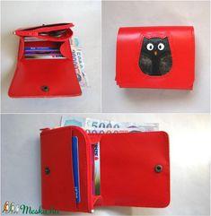 Piros fekete bagoly mintás bőr pénztárca (Dettymoon) - Meska.hu