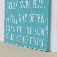 cottage rules sign | Family Rules Sign Cottage Style in Aqua Turquoise. Shabby Chic Vintage ...