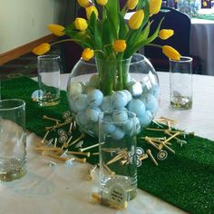 For the golf fanatic - some great table decorating ideas with putting green and accessories.