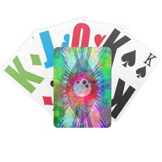 Grunge playing cards with an colorful eye design