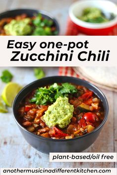 This easy one-pot zucchini chili tastes incredible and is completely guilt free. Plant-based and oil free, this is a healthy, simple to prepare meal that stands on its own or is great over rice or baked potatoes and compliments all your favorite toppings. #chili #vegan #plantbased #oilfree #zucchini #healthy #easy #anothermusicinadifferentkitchen