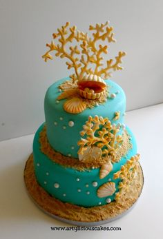 This is mini cake, bottom is 6? top is 4?  the coral made from wilton mold painted in ivory color.
