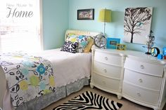 Sweet Tween Girls Bedroom Designs Collection : Gorgeous Light Blue Tween Girls Bedroom Design with White Dresser and Black White Zebra Rug also Artistic Picture Wall Ornament