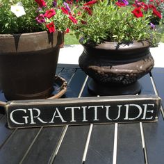 "Distressed Wooden Sign - ""GRATITUDE"" by BurlapAve on Etsy"