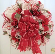 Christmas Deco Mesh Wreath Holiday Mesh by FestivalofWreaths, $95.00