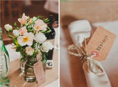 simple cheap rope and labels for centrepieces and napkins including table numbers and name places and are in keeping with rustic idea Wedding Prep, Wedding Table, Diy Wedding, Wedding Gifts, Wedding Planning, Wedding Ideas, Wedding Inspiration, Rustic Country Wedding Decorations, Rustic Wedding Signs