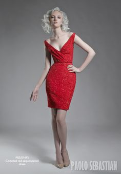 Red Sequin Pencil Dress | Paolo Sebastian