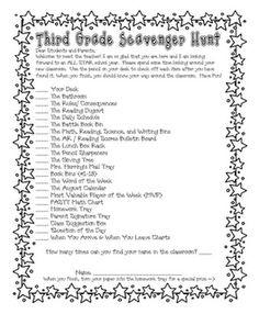 Meet the Teacher/Classroom Scavenger Hunt