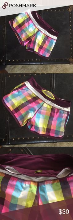 Lululemon Groovy Run Short Sea Check Plum Lululemon Groovy Run Short Sea Check Plum. The tags have been taken out but I'm pretty sure these are size 4. lululemon athletica Shorts