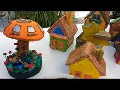 (21) Casinhas de cimento e papelão - YouTube Fairytale Cottage, Gingerbread, Fairy Tales, Christmas Ornaments, Holiday Decor, Projects, Miniature Gardens, Youtube, Home Decor